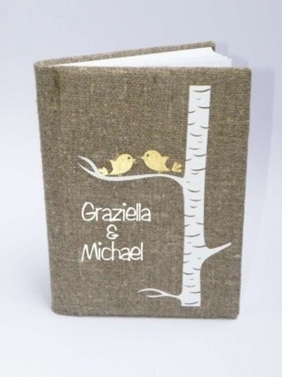 Preload https://item3.tradesy.com/images/rustic-guest-book-burlap-linen-guest-book-personalized-gold-birds-on-white-birch-tree-reception-deco-145242-0-0.jpg?width=440&height=440