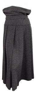 Yohji Yamamoto Belted Pleated Fall Skirt Gray