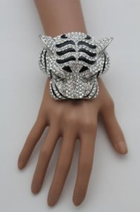 Other Women Cuff Bracelet Silver Metal Tiger Head Panther Face Wrist Fashion Jewelry