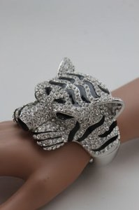 Women Cuff Bracelet Silver Metal Tiger Head Face Wrist Bangle Fashion Jewelry