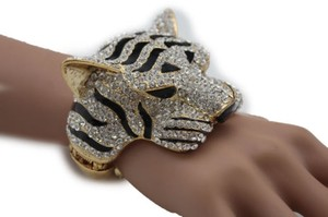 Women Cuff Bracelet Gold Metal Tiger Head Face Wrist Bangle Fashion Jewelry