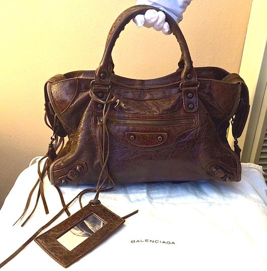 Balenciaga Marron Chevre Goat Goatskin Rare Discontinued Leather Motocross City Brass Sleeper Duster Dust Stud Fall Winter 2006 Satchel in Brown