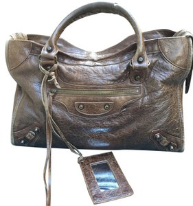 Balenciaga Marron Chevre Goat Satchel in Brown