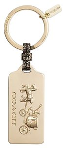 Coach HORSE AND CARRIAGE METAL GOLD HANGTAG KEY RING CHAIN