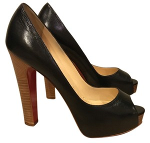 Christian Louboutin Wood Heel 4+ Inches Black Leather Pumps