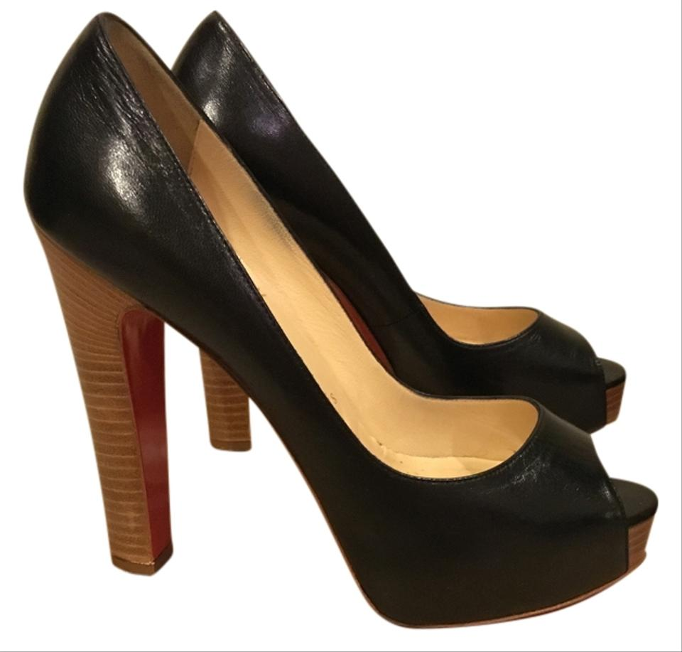 2a001af5f4a Christian Louboutin Black Leather Gabin 140 Kid/Cuoio Heel Pumps Size US 8  Regular (M, B) 51% off retail