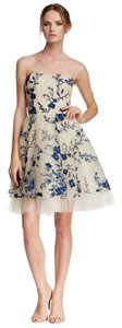 Marchesa Notte Embroidered Strapless Floral Dress