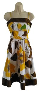 JFW short dress Yellow, White, and Brown on Tradesy