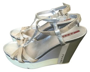 Prada Neutral White, grey, silver and cream Wedges