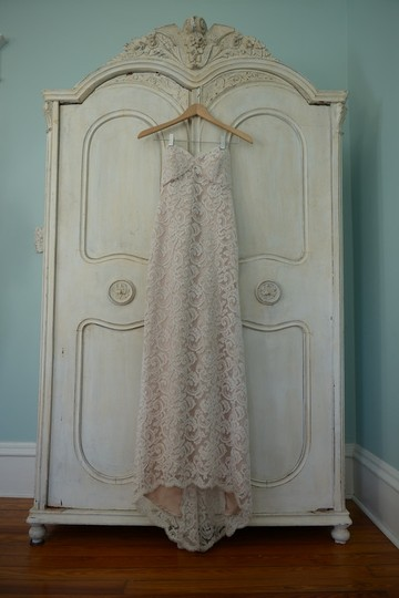 Ivory Lace with Champagn Lining Custom Made Destination Wedding Dress Size 4 (S)