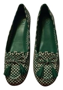 Tory Burch Russell Loafer Leather Sole Green & White Flats