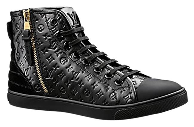 Item - Black Punchy Leather Women's High Top 37 / Free Same Day Ship / Sneakers Size US 7 Narrow (Aa, N)