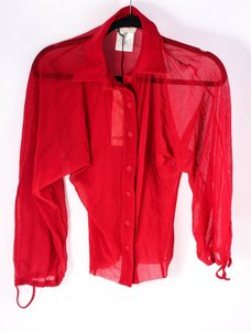 Fuzzi Sheer Button Up Top red