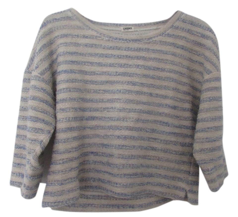 acfe180ea6 L AGENCE Three Quarter Sleeve Summer Pink with Blue Stripes Sweater ...