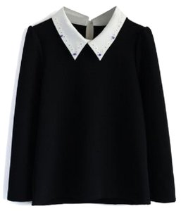 Chicwish Collar Classic Embellished Preppy Top Black White