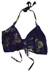 Beach Bikini Midi Crop Purple, Green Halter Top