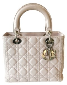 Dior Silver Hardware Lambskin Medium Lady Tote in Pale Pink
