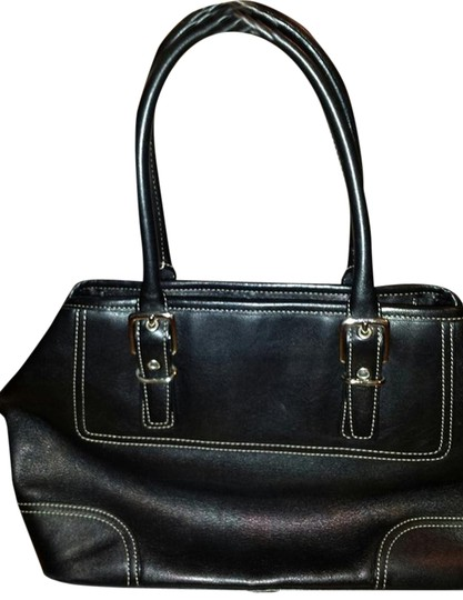 "Coach Bought Online Used Navy Blue Sheen Handbag Medium Sized ""go To"" Shoulder Bag"