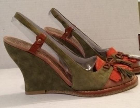 Nine West Olive Green, Pumpkin Orange, Tan, Cognac Wedges