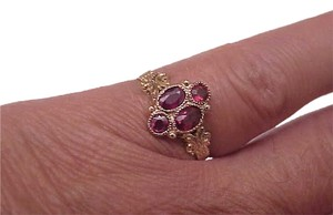 Other Victorian 12k Fancy Rose Gold Bezel Set 1.25carats Genuine Ruby's Band RING, late 1800s