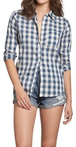 Abercrombie & Fitch Classic Checkered Plaid Preppy Spring Button Down Shirt Blue Check