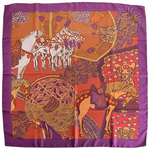 Hermès RDC6888 Hermes Purple Art des Steppes Detail 90cm Silk Twill Scarf