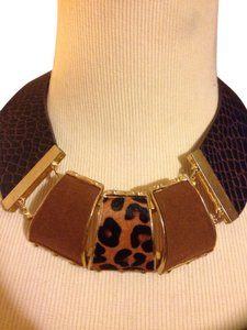 Gorgeous Leather And Suede Gold Bib Necklace