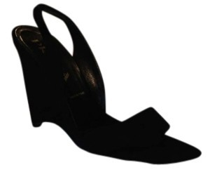 Prada Nubuck Leather Wedge Slingbacks Size 36 6.5-7 Us Black Formal