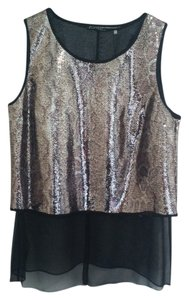 Elie Tahari Top Gold Black