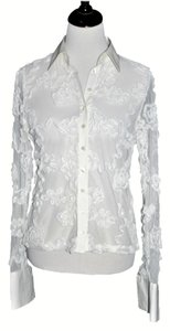 Anne Fontaine Mesh Floral Applique Top White