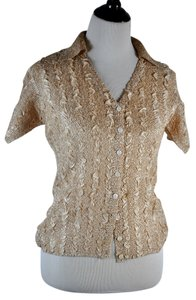 Anne Fontaine Wrinkled Texture Button Dow V Neck Top Beige
