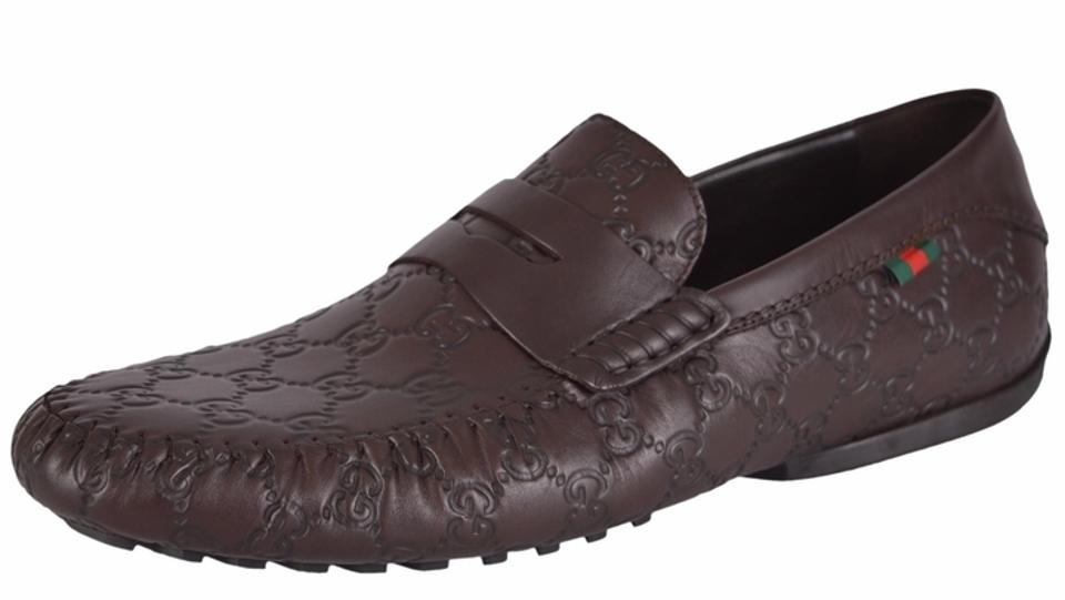 Gucci Brown New Men\u0027s 170618 Leather Web Gg Guccissima Drivers Loafers  Flats Size US 12 Regular (M, B)