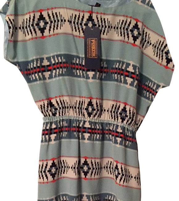 Item - Teal with Cream/Orange Accents Short Casual Dress Size 8 (M)