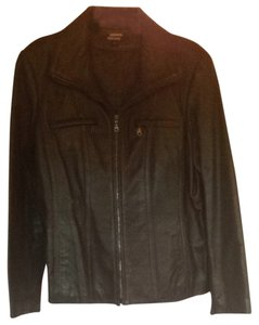 DKNY Zip Leather Lambskin Moto Chocolate brown Leather Jacket