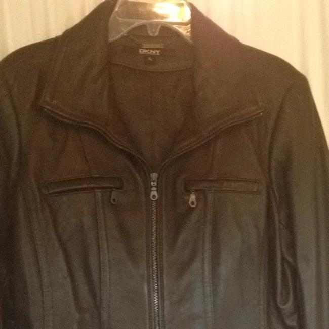 DKNY Zip Lambskin Moto Chocolate brown Leather Jacket Image 1