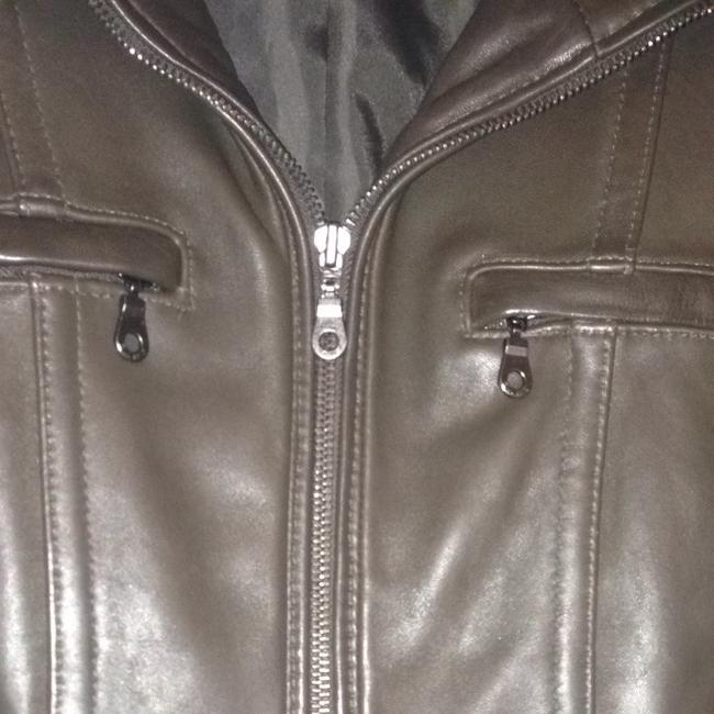 DKNY Zip Lambskin Moto Chocolate brown Leather Jacket Image 2