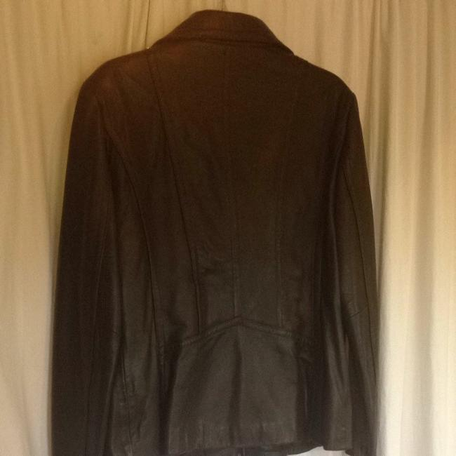DKNY Zip Lambskin Moto Chocolate brown Leather Jacket Image 3