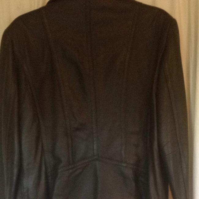 DKNY Zip Lambskin Moto Chocolate brown Leather Jacket Image 4