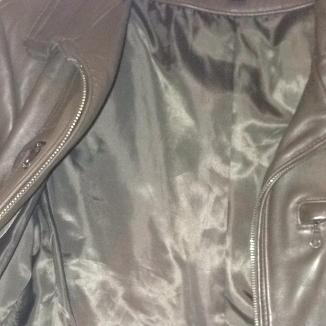 DKNY Zip Lambskin Moto Chocolate brown Leather Jacket Image 5
