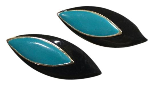 Unknown Gold, Turquoise, & Black Marquise Shaped Earrings