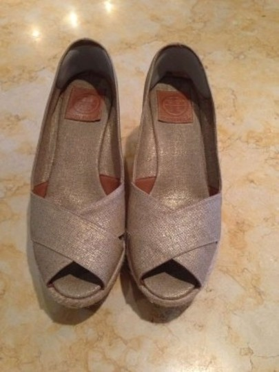 Tory Burch Natural with Gold Metallic Wedges