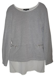 Style & Co 2 In 1 Sheer Top grey and ivory