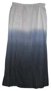 Saks Fifth Avenue 100% Linen Maxi Skirt white to blue ombre