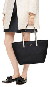 Kate Spade Saffiano Leather Satchel in Black/Gold