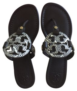d1ab2f44379c Tory Burch Black Natural Coconut Miller Sandals Size US 6 Regular (M ...