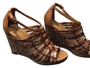 Cole Haan Wedge Snakeskin Cream, Brown, Leopard Wedges