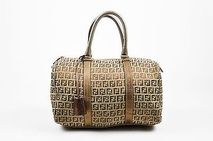 Fendi Gold Monogram Canvas Studded Zucchino Bauletto Forever Handbag Satchel in Brown