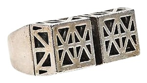 Low Luv X Erin Wasson Silver Tone Geometric Cut Out Double Band Ring