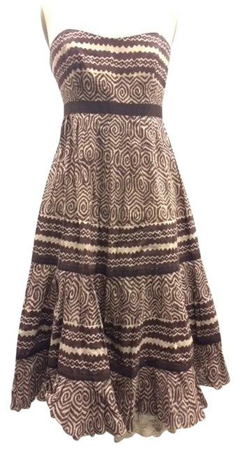 Plenty by Tracy Reese short dress brown and white Strapless Printed Summer Party Wedding on Tradesy
