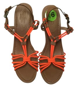 Coach Sandal Cork Platform Orange Wedges